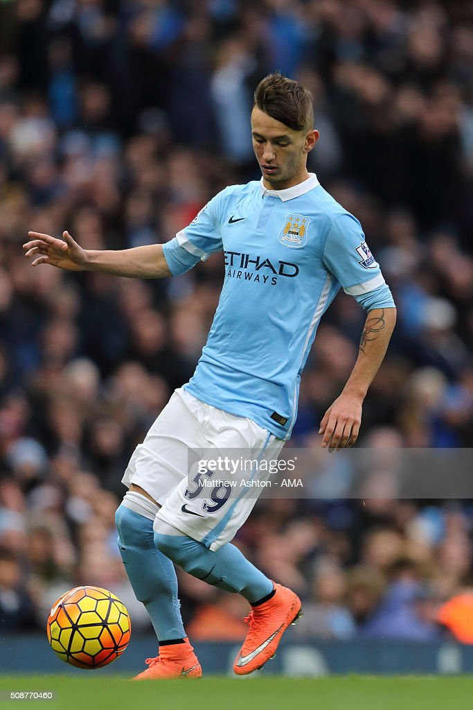 Bersant Celina of Manchester City during the Barclays Premier League match between Manchester City and Leicester City at the Etihad Stadium on February 06, 2016 in Manchester, England.