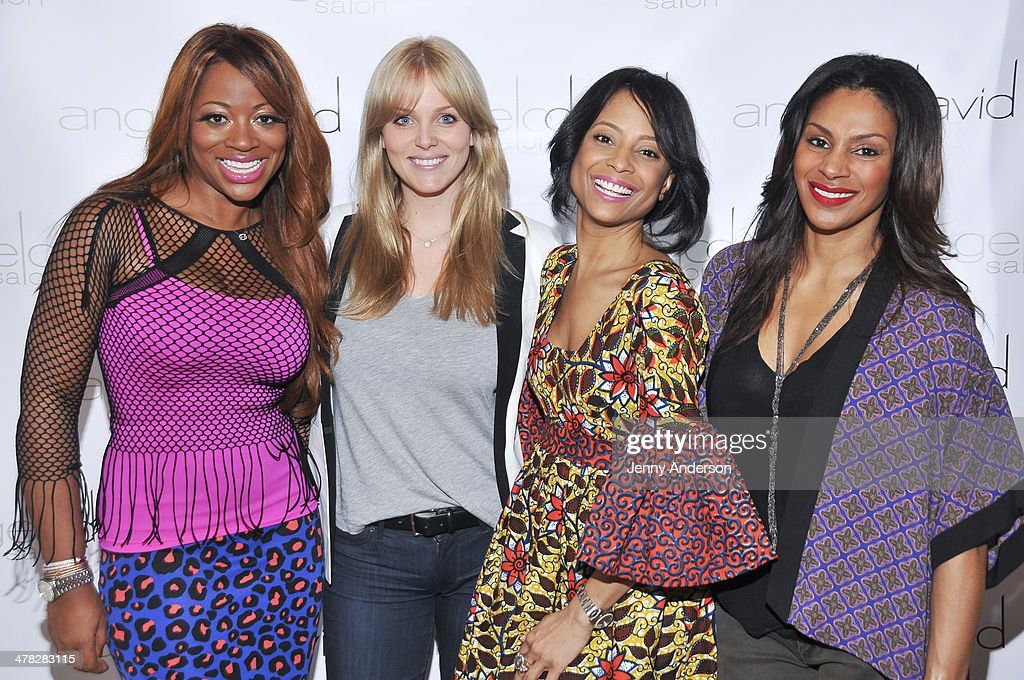 Bershan Shaw, Rachel Truehart, Tiffany Jones and Chenoa Maxwell attend Aviva Drescher's 'Leggy Blonde' book launch celebration at Angelo David Salon on March 12, 2014 in New York City.