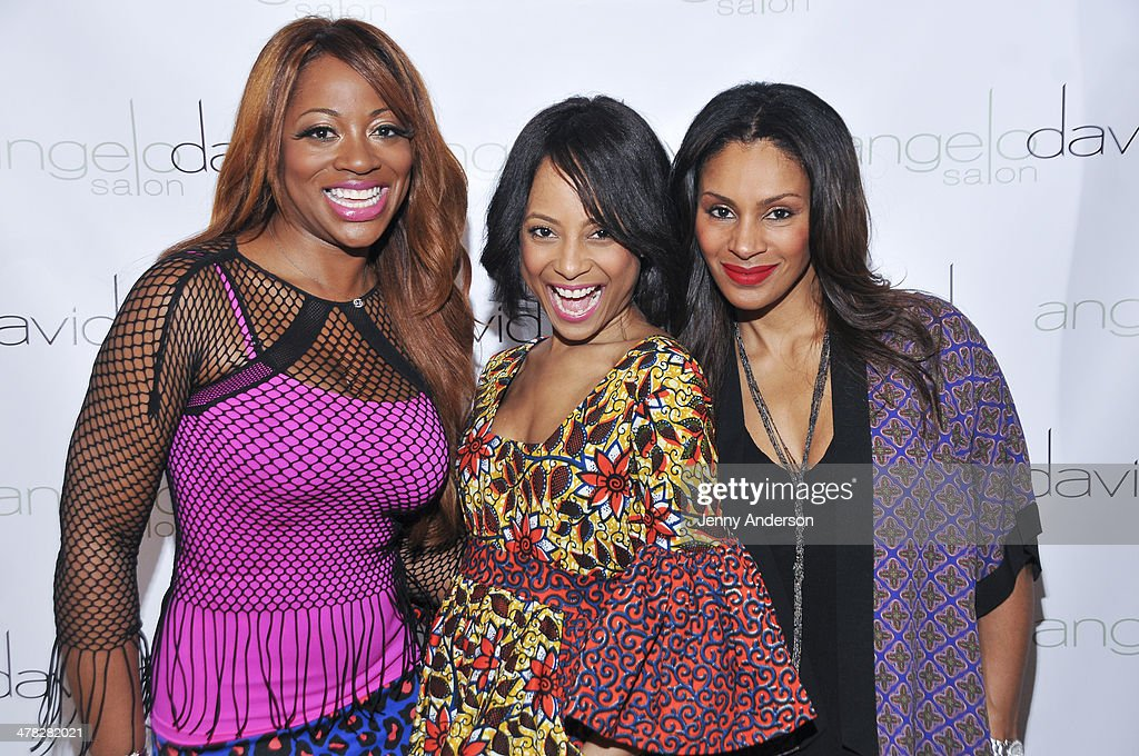 Bershan Shaw, Tiffany Jones and Chenoa Maxwell attend Aviva Drescher's 'Leggy Blonde' book launch celebration at Angelo David Salon on March 12, 2014 in New York City.