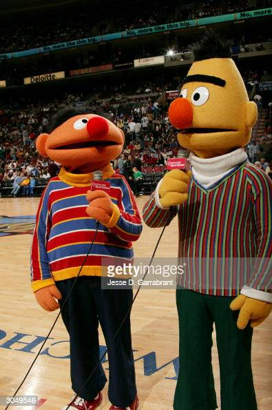 Bert and Ernie from 'Sesame Street' come to cheer the Philadelphia 76ers on in the game against the Chicago Bulls on March 6 2004 at the Wachovia...