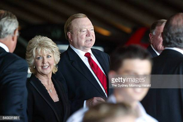 Bert and Patti Newton leave the State Memorial Service for Kerry Packer at the Sydney Opera House 17 February 2006 SMH Picture by PETER MORRIS