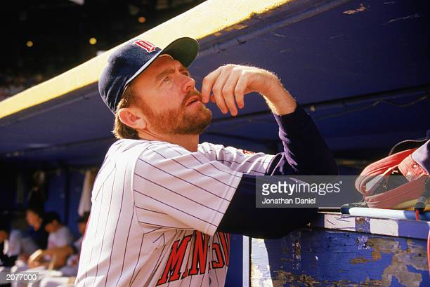 Bert Blyleven of the Minnesota Twins stands in the dugout during a game in the 1989 season