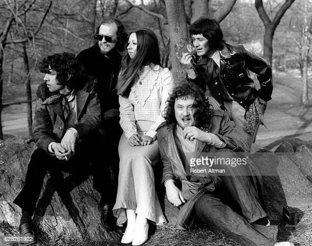 Bert Jansch Danny Thompson Jacqui McShee John Renbourn and Terry Cox of the group Pentangle pose for a portrait in Central Park circa May 1971 in New...