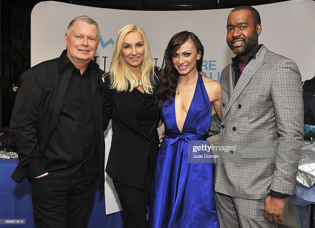 Bert Keeter, Uli Harzner and Emilio Sosa of 'Project Runway' join Dancing with the Stars <a gi-track='captionPersonalityLinkClicked' href=/galleries/search?phrase=Karina+Smirnoff&family=editorial&specificpeople=4029232 ng-click='$event.stopPropagation()'>Karina Smirnoff</a> (in blue) at The Aquafina 'Pure Challenge' at The Empire Hotel Rooftop on February 6, 2013 in New York City.