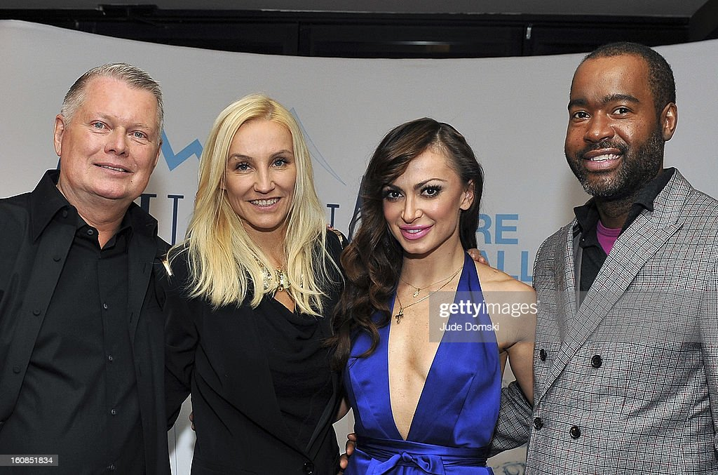 Bert Keeter, Uli Harzner and Emilio Sosa of 'Project Runway' join Dancing with the Stars Karina Smirnoff (in blue) at The Aquafina 'Pure Challenge' at The Empire Hotel Rooftop on February 6, 2013 in New York City.