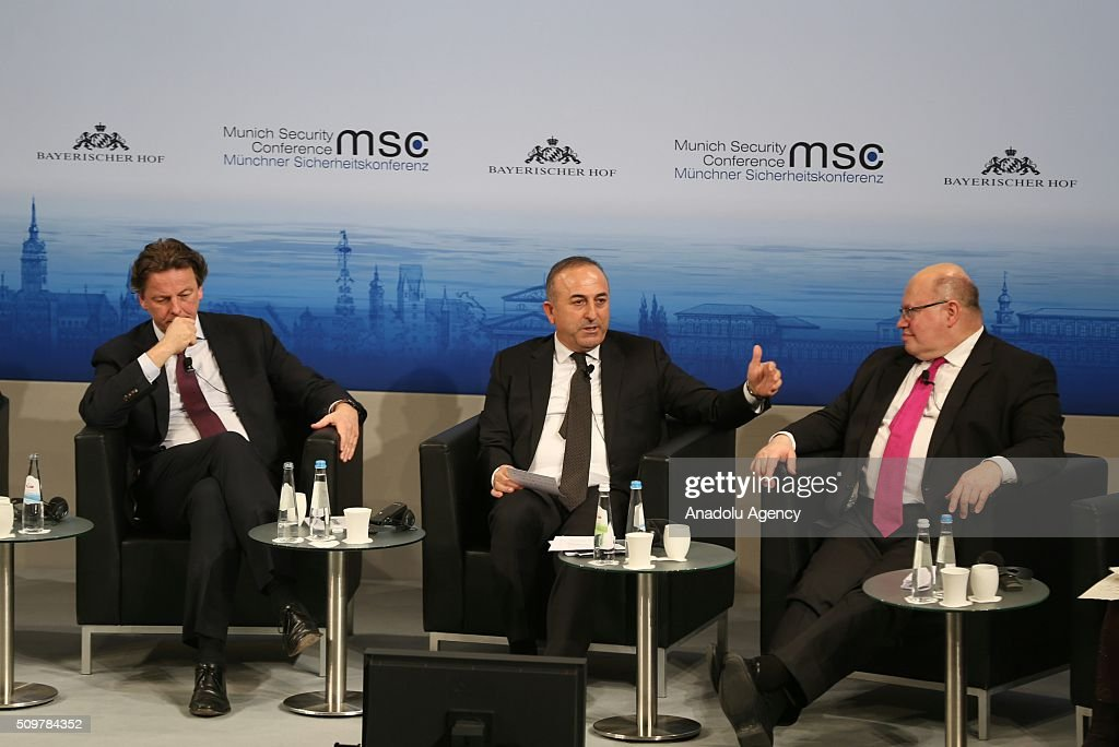 Bert Koenders, Minister of Foreign Affairs of the Netherlands, Mevlut Cavusoglu, Minister of Foreign Affairs of Turkey and Peter Altmeier, Head of the German Federal Chancellery attend the 2016 Munich Security Conference at the Bayerischer Hof hotel on February 12, 2016 in Munich, Germany. The annual event brings together government representatives and security experts from across the globe and this year the conflict in Syria will be the main issue under discussion.