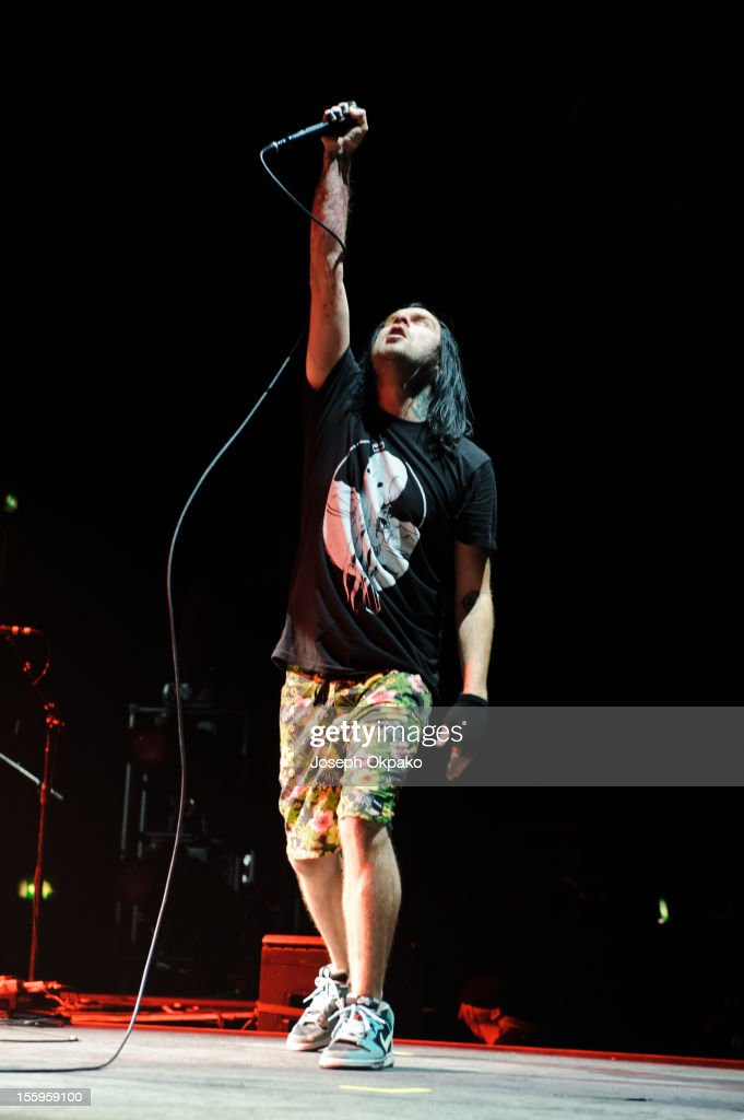 Bert McCracken of The Used performs on stage at Wembley Arena on November 9, 2012 in London, United Kingdom.