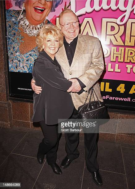 Bert Newton and Patti Newton arrive at the opening night of Barry Humphries' Eat Pray Laugh show show at Her Majestys Theatre on July 19 2012 in...