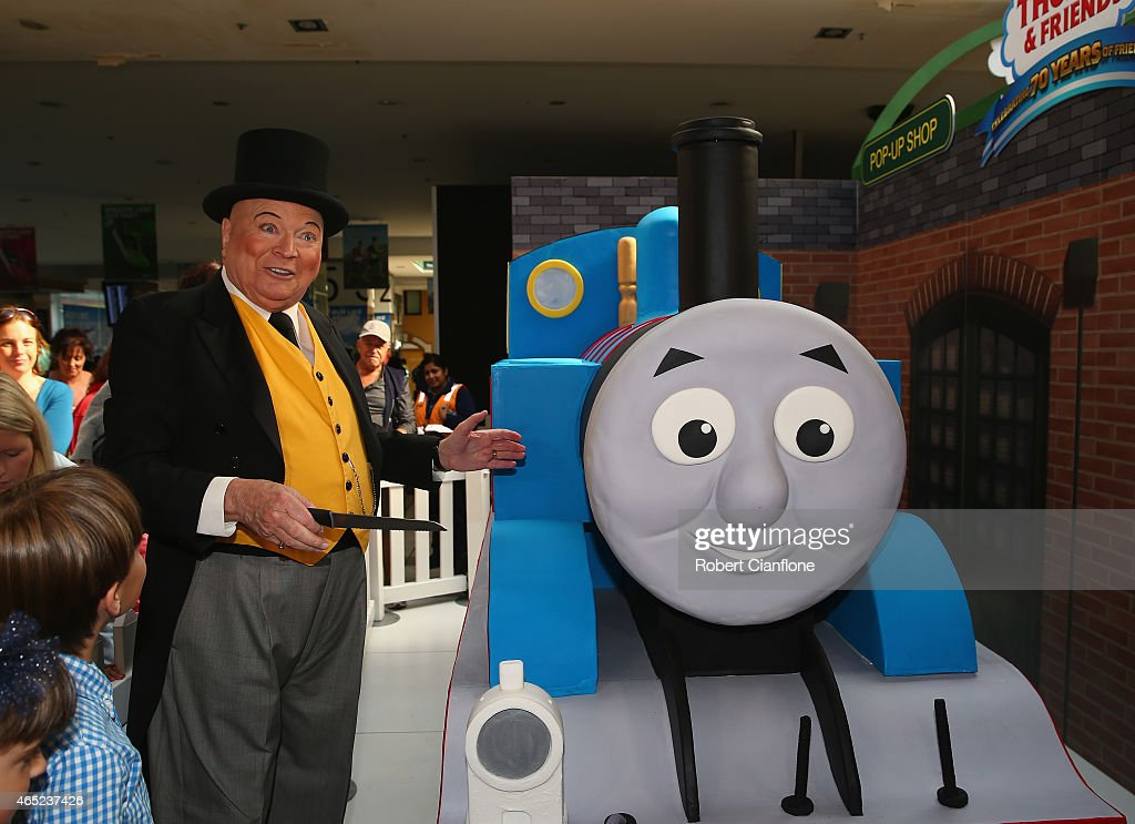 Bert Newton, dressed as The Fat Controller, is seen with a ...