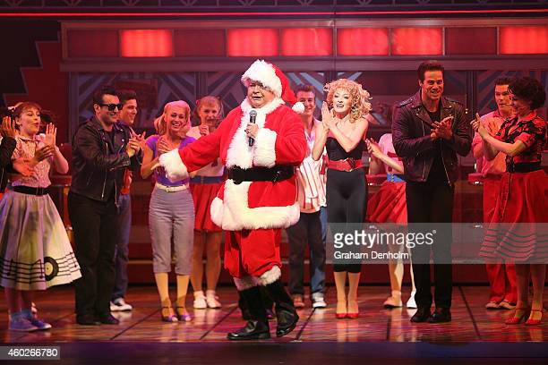 Bert Newton makes an appearance dressed as Santa Claus at the 'Grease' musical at The Regent Theatre on December 11 2014 in Melbourne Australia The...