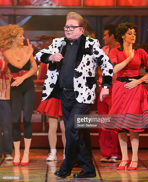 Bert Newton performs during a Grease The Musical media call at Her Majesty's Theatre on January 2 2014 in Melbourne Australia