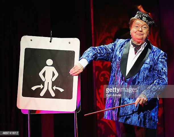 Bert Newton performs the role of the Narrator at the media call for The Rocky Horror Show at The Star on April 15 2015 in Sydney Australia