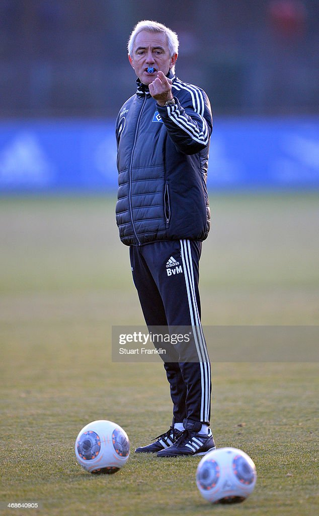 Bert van Marwijk, head coach of Hamburger SV gestures during the training session of Hamburger SV on February 11, 2014 in Hamburg, Germany.