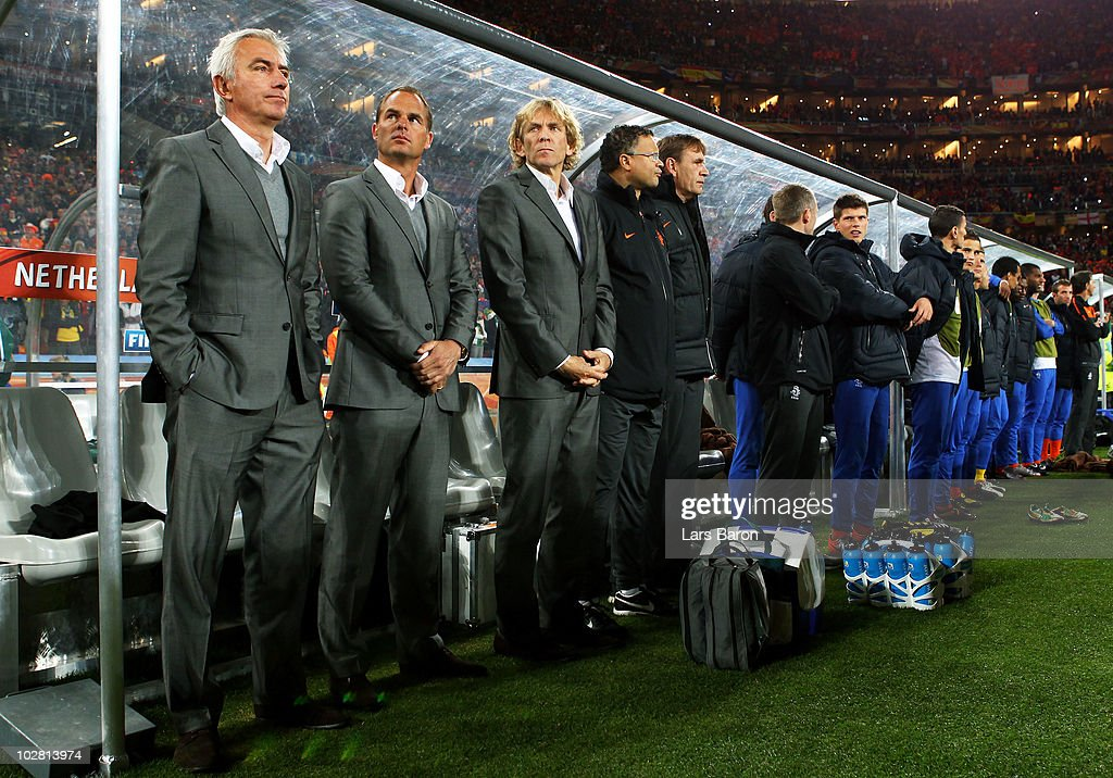 <a gi-track='captionPersonalityLinkClicked' href=/galleries/search?phrase=Bert+van+Marwijk&family=editorial&specificpeople=649210 ng-click='$event.stopPropagation()'>Bert van Marwijk</a> head coach of the Netherlands (L), Frank de Boer assistant coach of the Netherlands (second left) and coaching staff ahead of the 2010 FIFA World Cup South Africa Final match between Netherlands and Spain at Soccer City Stadium on July 11, 2010 in Johannesburg, South Africa.