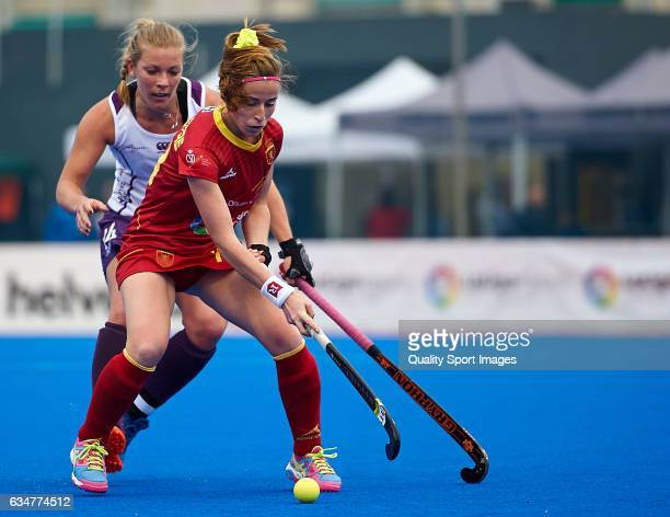 Berta Bonastre of Spain competes for the ball with Kareena Cuthbert of Scotland during the match between Spain and Scotland during day five of the...