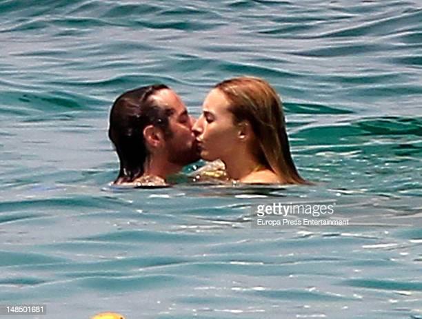 Berta Collado and boyfriend are seen on July 17 2012 in Ibiza Spain