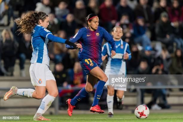 Berta Pajudas of Espanyol women Andressa Alves da Silva of FC Barcelona women during the La Liga woman 201718 match between FC Barcelona and RCD...