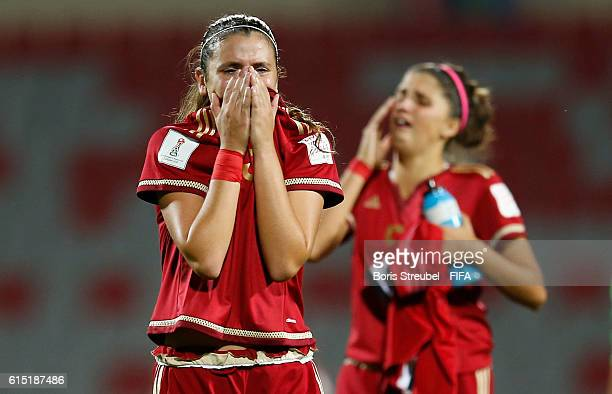 Berta Pujadas of Spain and Natalia Ramos of Spain look dejected after losing the FIFA U17 Women's World Cup Semi Final match between Spain and Japan...