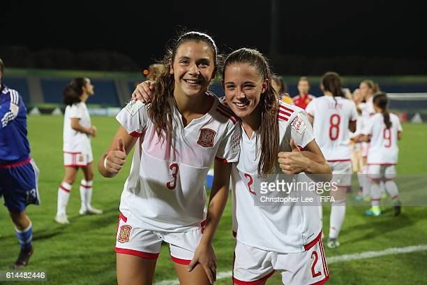 Berta Pujadas of Spain and Ona Batlle of Spain celebrate their victory during the FIFA U17 Women's World Cup Jordan 2016 Quarter Final match between...