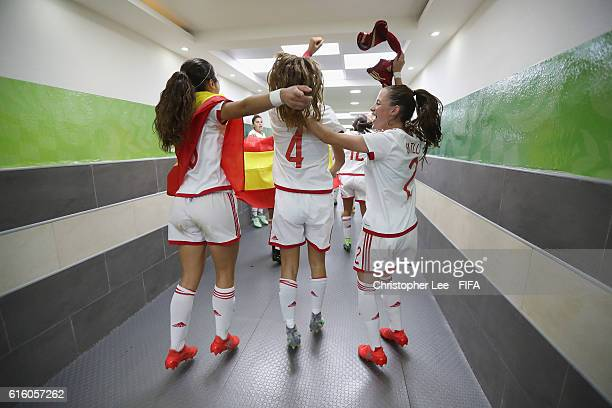 Berta Pujadas of Spain Laia Aleixandri of Spain and Ona Batlle of Spain celebrate their victory during the FIFA U17 Women's World Cup Jordan 2016...