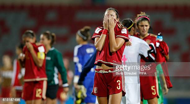 Berta Pujadas of Spain looks dejected after losing the FIFA U17 Women's World Cup Semi Final match between Spain and Japan at King Abdullah II...