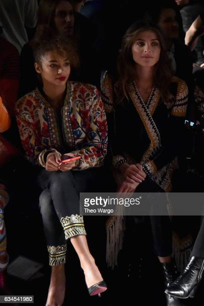 Berta Vazquez and guest attend the Desigual fashion show during New York Fashion Week at Gallery 1 Skylight at Clarkson Sq on February 9 2017 in New...