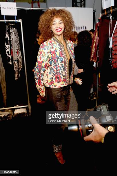 Berta Vazquez poses backstage before the Desigual fashion show during New York Fashion Week The Shows at Gallery 1 Skylight Clarkson Sq on February 9...