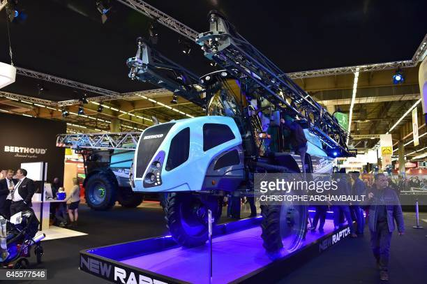 A Berthoud pulverizer is displayed during the SIMA Paris International agribusiness show at the Parc des Expositions Paris Nord in Villepinte on...