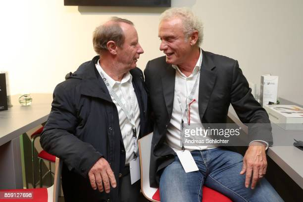 Berti Vogts and HansPeter Briegel at the club of former national players meeting prior to / after the FIFA 2018 World Cup Qualifier between Germany...