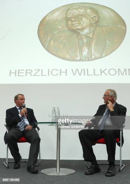 Berti Vogts and Thomas Wollscheid during the awarding ceremony of HermannNeubergerAward on May 19 2017 in Saarbruecken Germany