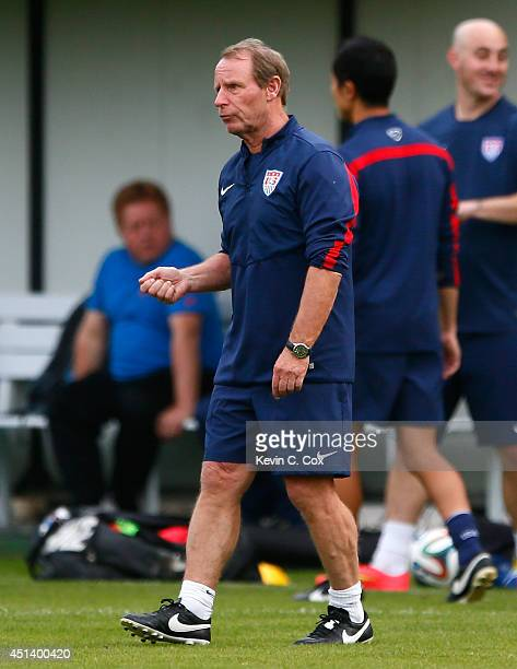 Berti Vogts special advisor to head coach Jurgen Klinsmann of the United States speaks to a player during training at Sao Paulo FC on June 28 2014 in...