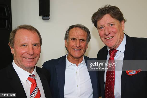Berti Vogts Wolgang Overtah and ToniS chumacher pose during Egidius Braun's 90th Birthday Celebration at Sportschule Hennef on February 27 2015 in...