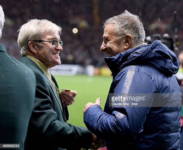 Bertie Auld and Gianfranco Bedin prior to the UEFA Europa League Round of 32 match between Celtic FC and FC Internazionale Milano at Celtic Park on...