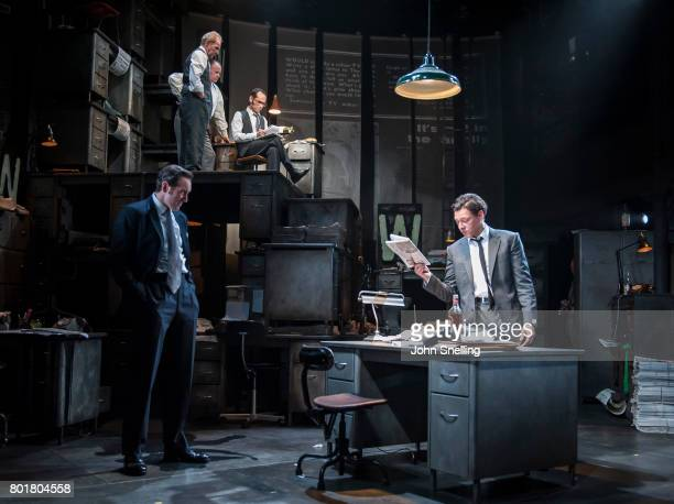 Bertie Carvel as Rupert Murdoch and Richard Coyle as Larry Lamb with the Company perform on stage in a new production of the play 'Ink' at The...