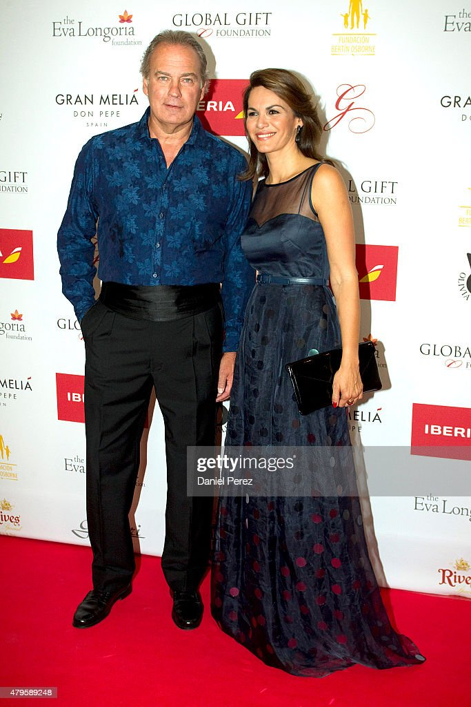 Bertin Osborne and Faviola Martinez attend the Global Gift Gala 2015 red carpet at Gran Melia Don pepe Resort on July 5, 2015 in Marbella, Spain.