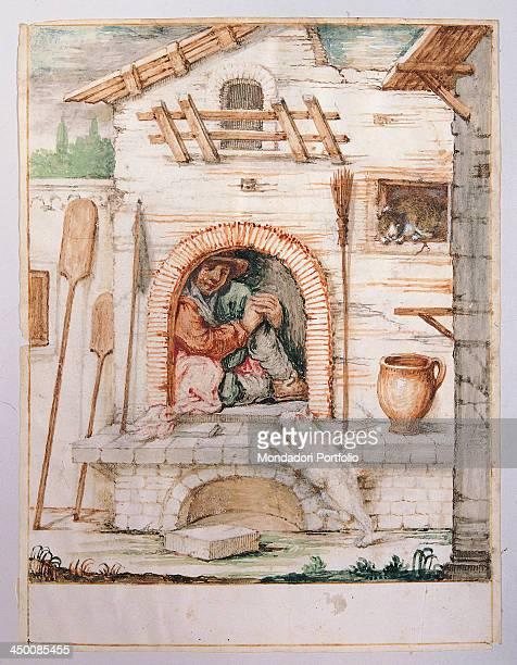 Bertoldo hidden inside the oven by Giuseppe Maria Crespi known as lo Spagnuolo 18th Century watercolor on vellum 197 x 149 cm