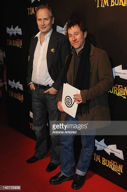 Bertrand Bonello and Hyppolite Girardot attend the 'Tim Burton The Exhibition' Launch Cocktail at la cinematheque on March 5 2012 in Paris France