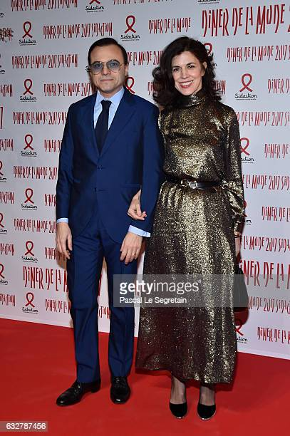 Bertrand Burgalat and Vanessa Seward attend the Sidaction Gala Dinner 2017 Haute Couture Spring Summer 2017 show as part of Paris Fashion Week on...