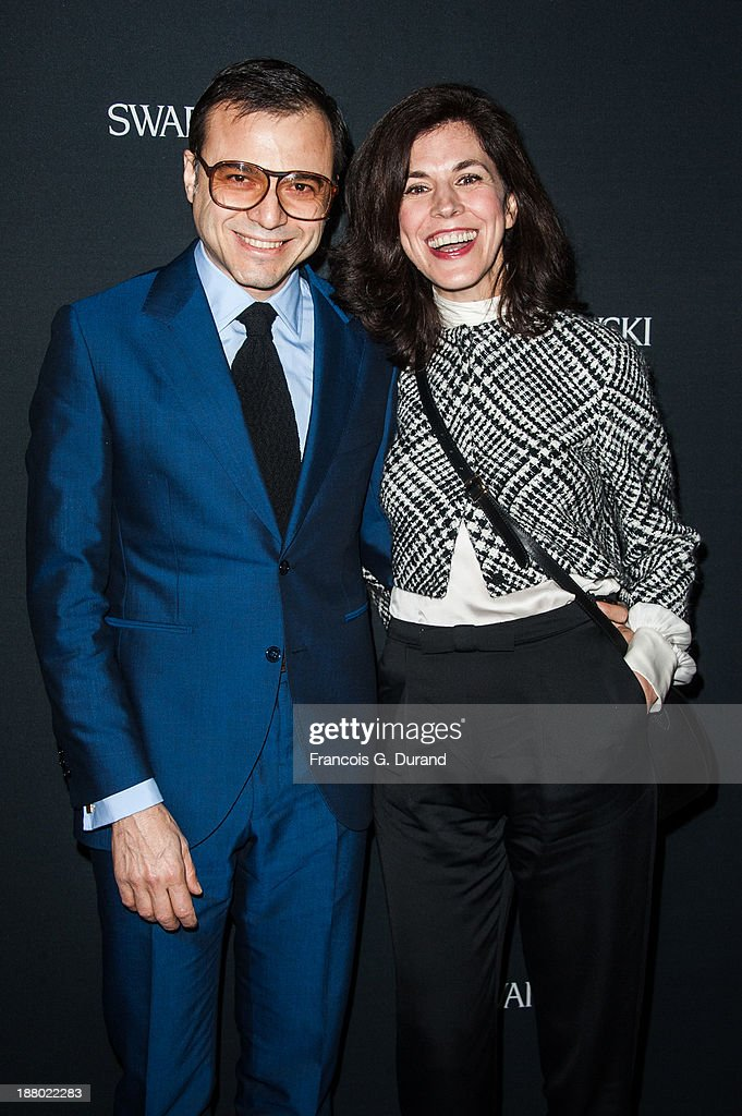 Bertrand Burgalat and <a gi-track='captionPersonalityLinkClicked' href=/galleries/search?phrase=Vanessa+Seward&family=editorial&specificpeople=4360838 ng-click='$event.stopPropagation()'>Vanessa Seward</a> attend the Swarovski Dinner In Honor of the Bouroullec Brothers at Chateau de Versailles on November 14, 2013 in Versailles, France.