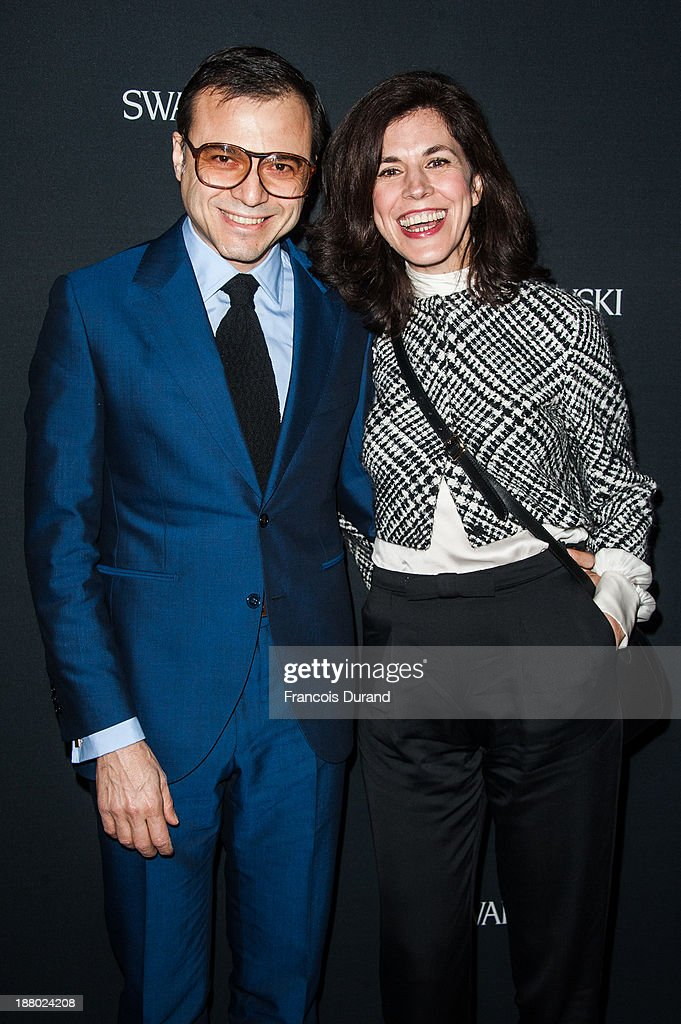 Bertrand Burgalat and Vanessa Seward attend the Swarovski Dinner In Honor of the Bouroullec Brothers at Chateau de Versailles on November 14, 2013 in Versailles, France.