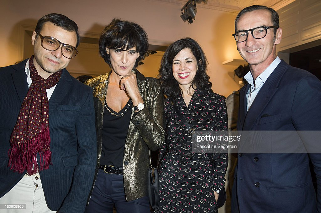 Bertrand Burgalat, Ines de La Fressange, <a gi-track='captionPersonalityLinkClicked' href=/galleries/search?phrase=Vanessa+Seward&family=editorial&specificpeople=4360838 ng-click='$event.stopPropagation()'>Vanessa Seward</a> and Bruno Frisoni attend the Vogue Fashion Night Out event at boutique Roger Vivier on 29 Faubourg Saint-Honore, on September 17, 2013 in Paris, France.