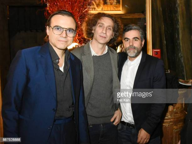 Bertrand Burgalat Philippe Nassif and Technikart magazine editor in chief Laurence Remila attend Technikart Party at Les Bains Paris Club on December...