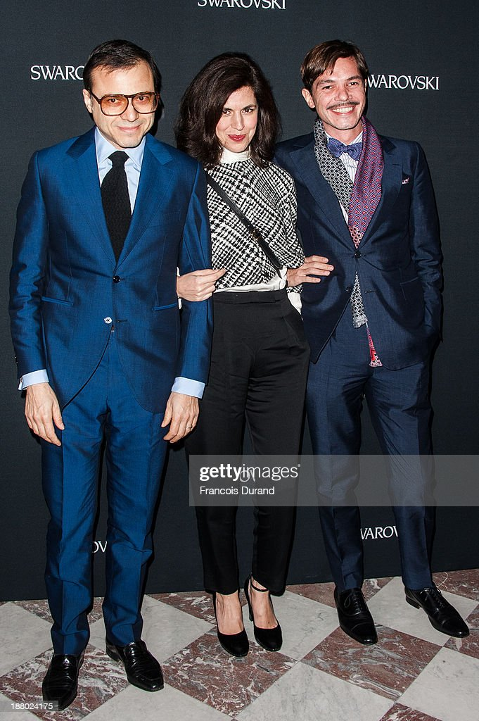 Bertrand Burgalat, Vanessa Seward and Elie Top attend the Swarovski Dinner In Honor of the Bouroullec Brothers at Chateau de Versailles on November 14, 2013 in Versailles, France.