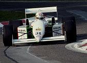 Bertrand Gachot of Belgium drives the Coloni Racing Coloni FC189B Subaru B12 during pre qualifying for the San Marino Grand Prix on 11 May 1990 at...