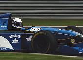Bertrand Gachot of Belgium drives the Pacific Grand Prix Ltd Pacific PR02 Ford EDC V8 during the San Marino Grand Prix on 30 April 1995 at the...
