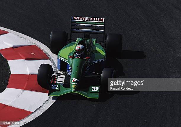 Bertrand Gachot of Luxembourg drives the Jordan Team 7up Jordan 191 Ford HB 35 V8 during practice for the RhonePoulenc French Grand Prix on 6th July...