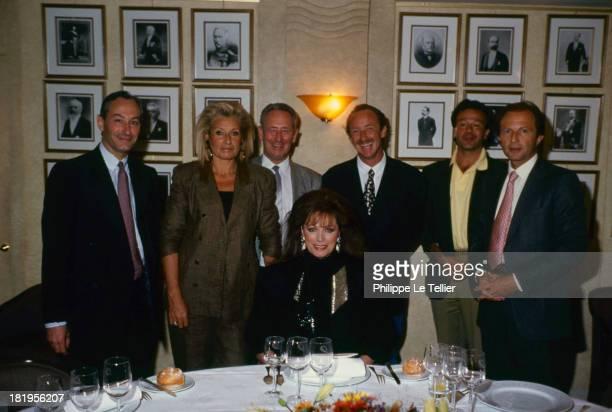 Bertrand Gallet Nicole Sonneville Jacques Dorfmann Gerard Fusil Paul Wermus Gerald Azarias during a dinner hosted by Paul Wermus 1989 Bertrand de...