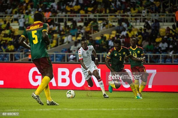 Bertrand Isidore Traore dribling during first half at African Cup of Nations 2017 between Burkina Faso and Cameroon at Stade de lAmitié Sino stadium...