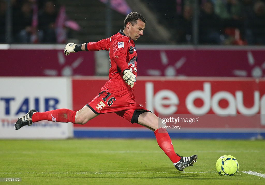Bertrand Laquait, goalkeeper of ETG in action during the Ligue 1 match between Evian Thonon Gaillard FC, ETG, and Paris Saint Germain FC, PSG, at the Parc des Sports d'Annecy on April 28, 2013 in Annecy, France.
