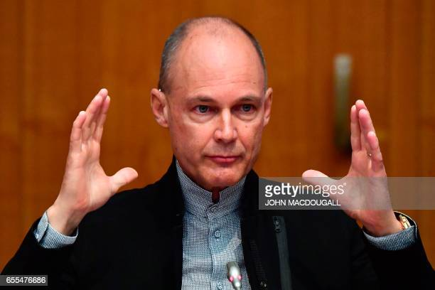 Bertrand Piccard Pilot and Chairman of Solar Impulse speaks to the media at the opening of the Berlin Energy Transition Dialogue 2017 conference on...